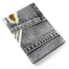 Обложка на паспорт Серый джинсы