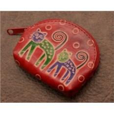 Монетница. Коллекция Socotra (Красный, кошки; тип 1; кожа)