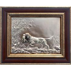 Картина из металла Собака с добычей размером 26х21 см