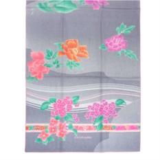 Шелковый палантин в серых тонах с цветками Leonard