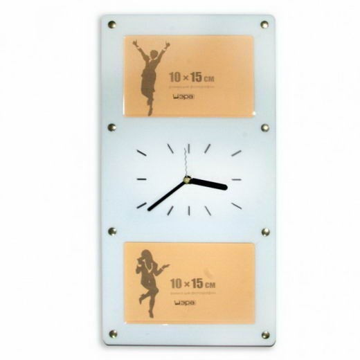 Вертикальная часы-фоторамка Счастливый миг (белая)