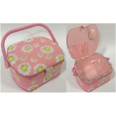 Розовая шкатулка для рукоделия Сундучок, размер 23х19х11см