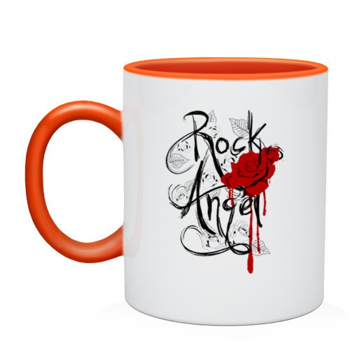 Двухцветная кружка Rock angel red rose