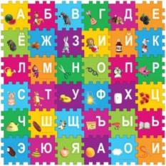 Пластмассовая игрушка коврик-пазл Маша и Медведь с буквами