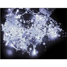 Белая электрогирлянда Жемчужины с прозрачным проводом