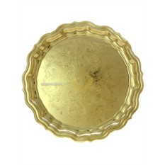 Латунный поднос для самовара с гравировкой Кольчугино
