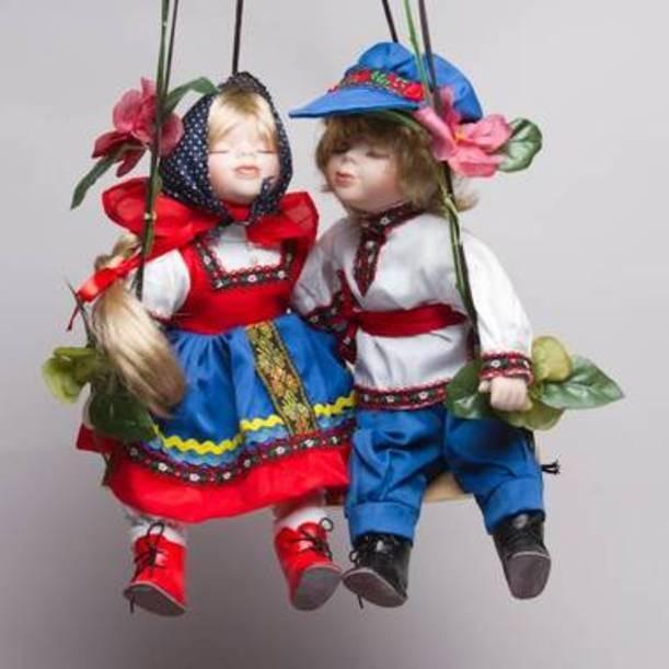 Фарфоровые парные куклы Иван да Марья