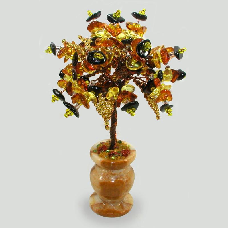 Миниатюрное дерево жизни из янтаря в вазочке из оникса