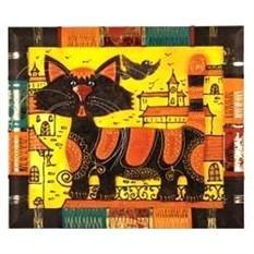 Декоративное панно из натуральной кожи с котом