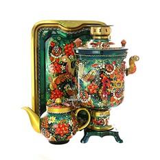 Набор; самовар электрический, чайник и поднос с росписью