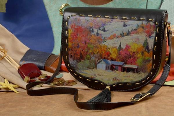 Женская кожаная сумка-седло Разноцветные поля