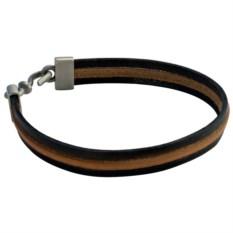 Кожаный браслет со вставкой из кожи Triple standart
