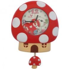 Детские настенные часы Мухомор с маятником