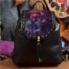 Женский кожаный рюкзак ручной работы Два фиолетовых слона