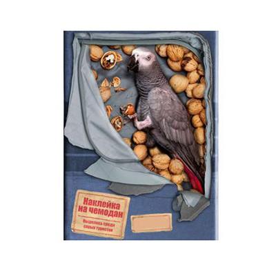 Наклейка на чемодан Попугай