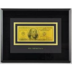 Картина с банкнотой 100$ с сусальным золотом