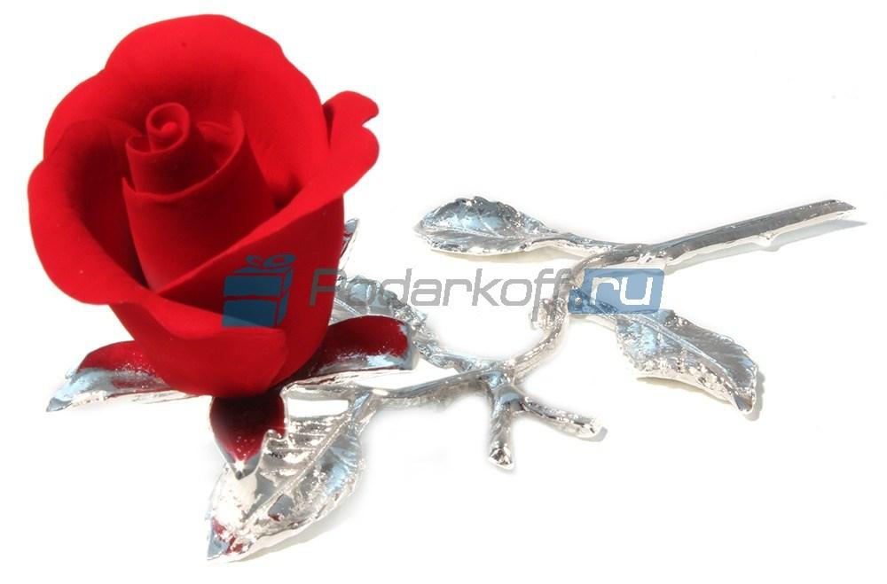 Фарфоровая композиция Красная роза с посеребрением
