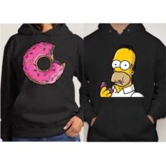 Парные толстовки с капюшоном (кенгурушки) Гомер и пончик