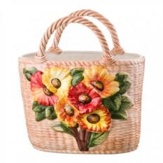 Керамическая корзина с цветами