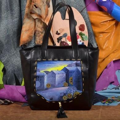 Черная сумка-шопер Синий городок Elole Design
