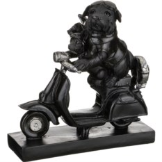 Черная фигурка из серии ретро Собаки на мопеде