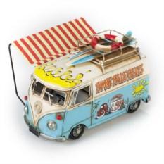 Ретро-модель Бело-голубой автобус с фоторамкой и копилкой
