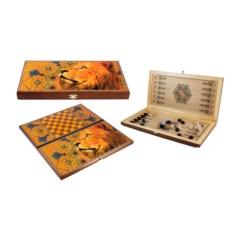 Настольная игра Лев: нарды, шашки , размер 40х20см
