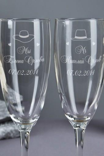 Бокалы для шампанского с вашим текстом Mr & Mrs Y