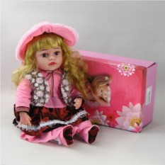 Декоративня виниловая кукла в розовой шляпе