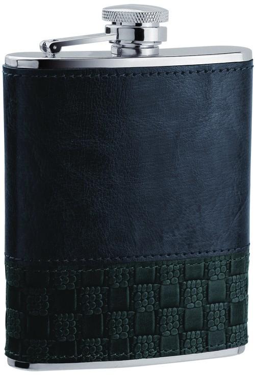 Фляга D-Pro S.Quire, плетение из черной кожи