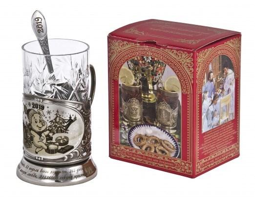 Набор для чая с подстаканником в коробке Новогодний