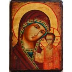Казанская икона Божьей Матери на дереве под старину