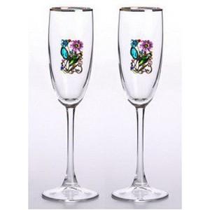 Свадебные бокалы с золотой каймой