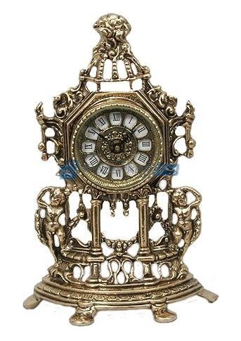 Часы-половинки из бронзы Амуры, золотые