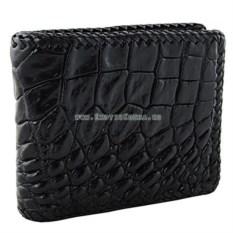 Мужской кошелек из гладкой кожи с живота крокодила