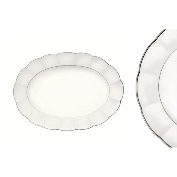 Овальное блюдо Серебряный лотос