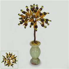 Дерево удачи из граната в вазочке из оникса