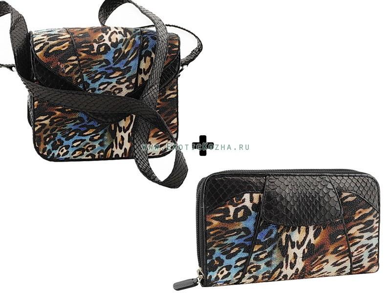 Набор аксессуаров: сумочка и клатч (кожа ската и питона)