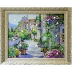 Картина с кристаллами Сваровски Цветущий город