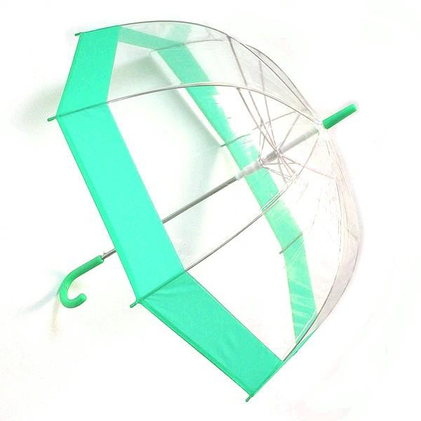 Прозрачный зонт-купол (ободок зеленого цвета)