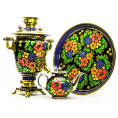 Электрический самовар Полевые цветы (ручная роспись)