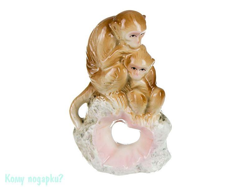 Фигурка фарфоровая «Обезьянка-мама с малышом», h=13 см