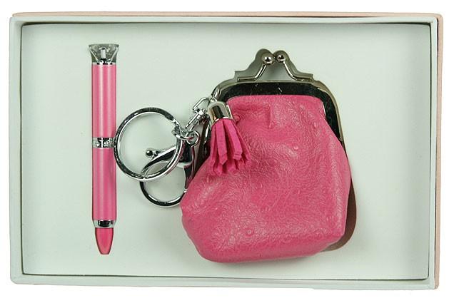 Розовый подарочный набор Кошелек: ручка, брелок