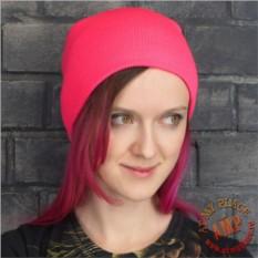 Ярко-розовая шапка бини