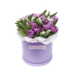 Цветы в шляпной коробке Тюльпаны пионовидные
