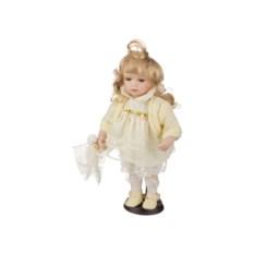 Фарфоровая кукла в белом платье, высота 30 см