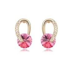 Серьги с розовыми камнями Сваровски «Золотые подковы»