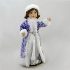 Фарфоровая кукла Снегурочка (синее платье)