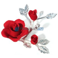 Фарфоровая композиция Красная роза с бутонами