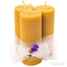 Набор из 3 средних свечей из вощины